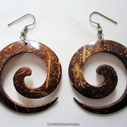 Boucle d'oreille Bois Spiral