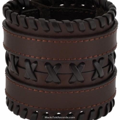 Bracelet de Force en Cuir Double Marron