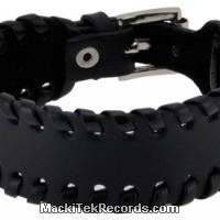 Bracelet de Cuir Noir Tressé