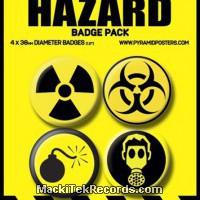 Lot de 4 Badges 38mm Hazard