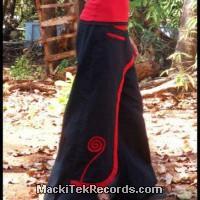 Pantalon Ethnique Spirale Noir Rouge