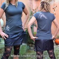 T-Shirt Gris Femme MackiTek Abstract Pyramid
