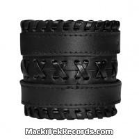 Bracelet de Force Cuir Double Tresse Noir