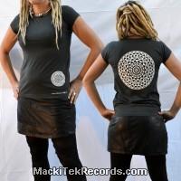 T-Shirt Gris M Femme MackiTek Mandala 01