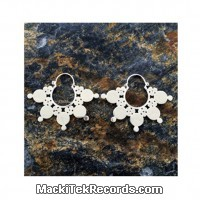 Earing big brass dots earing silver plated