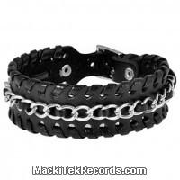Bracelet Cuir Chaînes Tressées Simple