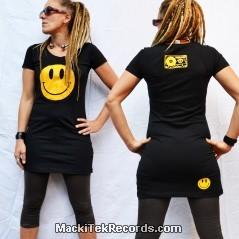 Dress Black Smiley Yellow