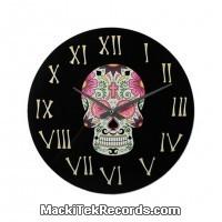 Horloge en verre Mexican Skull Rose