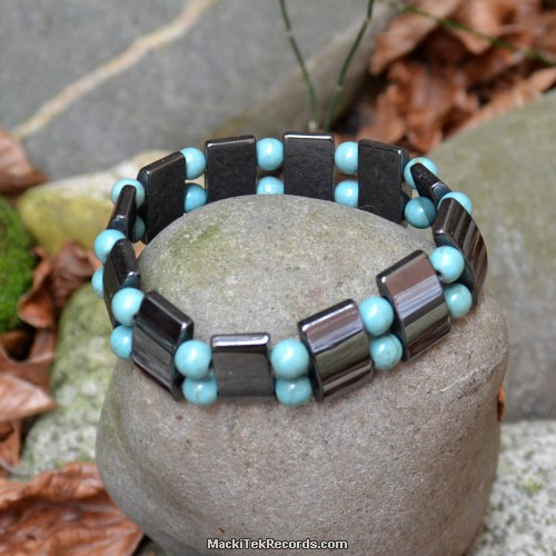 Bracelet hématite et howlite turquoise