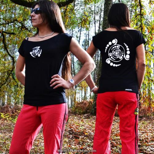 T-Shirt Femme Noire Crop Circle 08V2