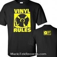 T-Shirt Noir Vinyl Rules Jaune