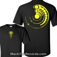 T-Shirt Black Crop Circle 15 Yellow