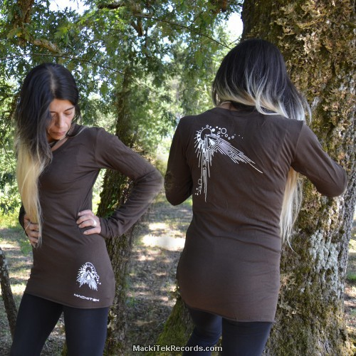 T-Shirt Manches Longues Marron Dark Abstract Solar
